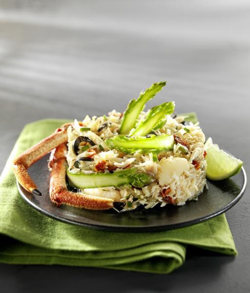 Araignée de mer en salade et tagliatelles d'asperges  - © Cooklook