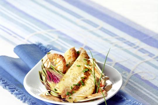 Filets de daurade royale et langoustine au cidre - © Cooklook